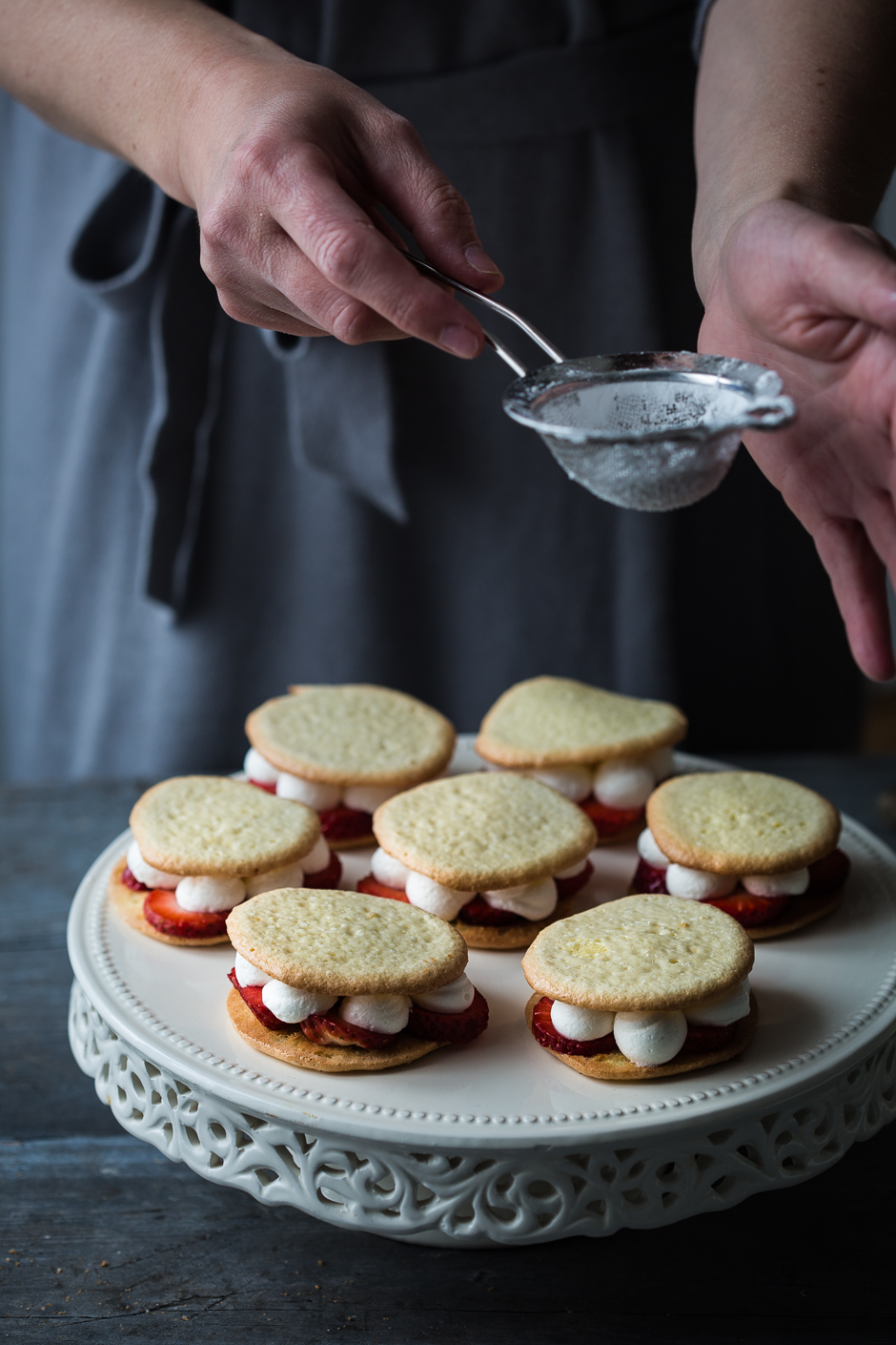 Strawberry and cream filled sandwiches from the Taste of Memories Hungarian country kitchen