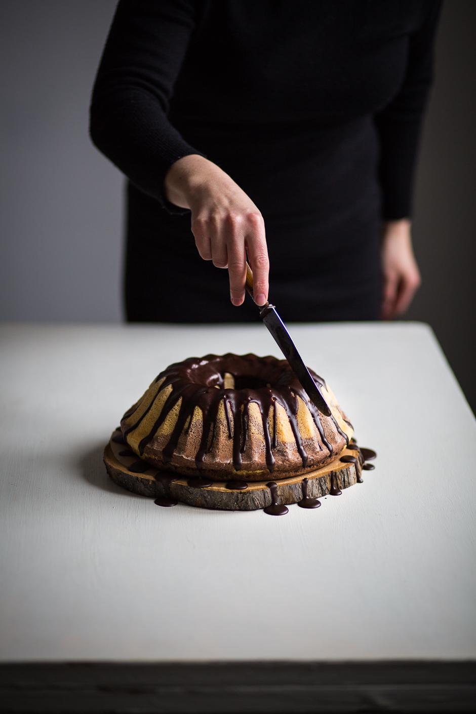 kugelhopf with chocolate glaze from the Taste of Memories Hungarian country kitchen www.tasteofmemories.com